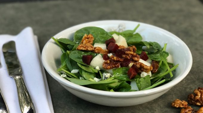 Spinach Salad with Pear, Beets, Gorgonzola and Spiced Walnuts