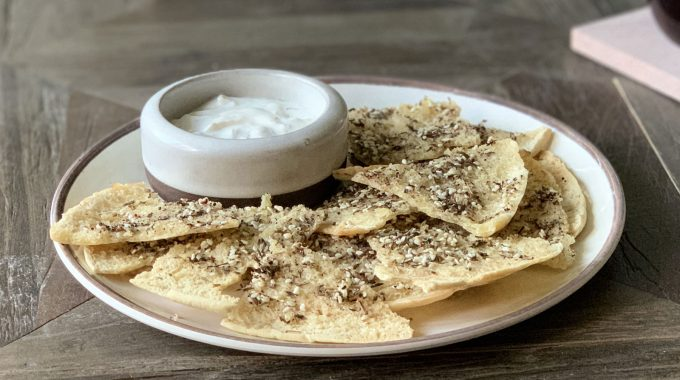 Za'atar Pita Chips and Yogurt Dip