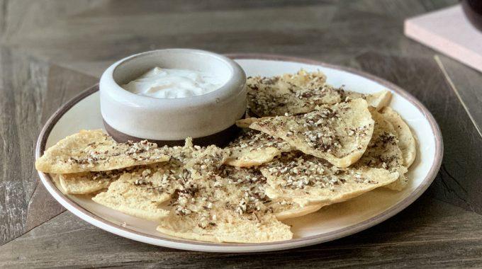 Za'atar Pita Chips and Yogurt Dip