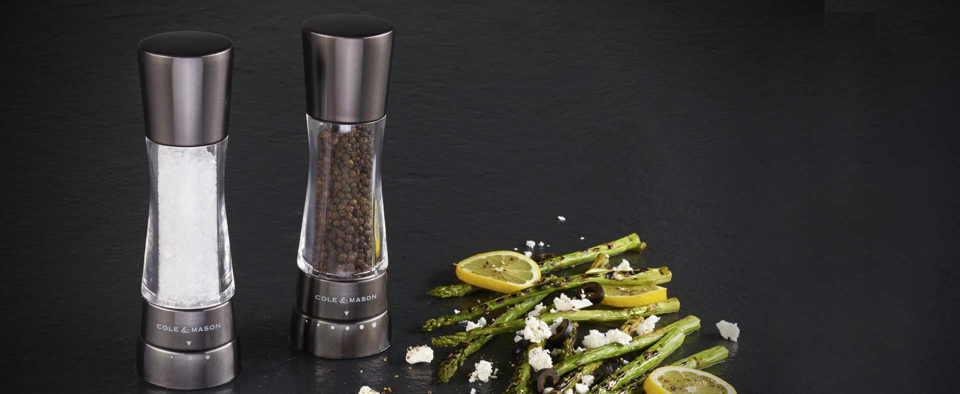 Cole & Mason salt mill and pepper mill in gun metal